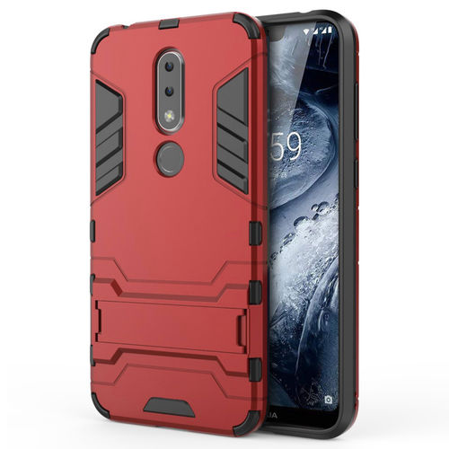 Slim Armour Tough Shockproof Case & Stand for Nokia 6.1 Plus - Red